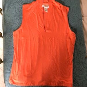 Talbots mellow orange v-neck sleeveless top.